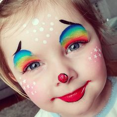 My little clown using Tag Leanne's rainbow #facepaint #facepainting #clown #cute #love #art #artist #daughter #glitter #stars #thefacepaintingshop #sillyfarm #tagbodyart #rainbow