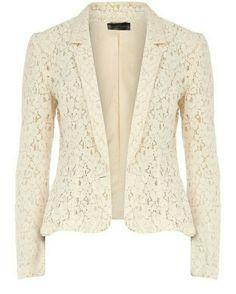 Cream lace blazer,can be worn over any plain colored bottom Lace Blazer, Lace Jacket, Cream Blazer, Cream Jacket, Pink Jacket, Look Hippie Chic, Look Chic, Pink Beige, My Wardrobe