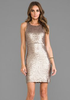 MM COUTURE BY MISS ME Sleeveless Allover Sequin Dress in Gold