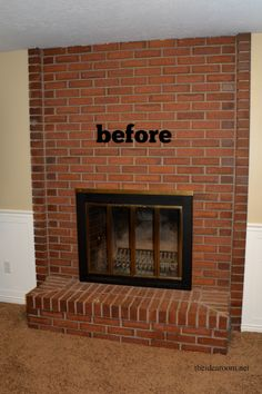 brick fireplace makeover before during after fireplace rh pinterest com