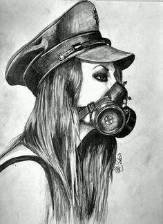 Drawing by Ula Schon :) real nice use of the pencil. Gas Mask Drawing, Gas Mask Art, Masks Art, Gas Masks, Tattoo Mascara, Best Gas Mask, All Mythical Creatures, Gas Mask Tattoo, Anime Guys With Glasses