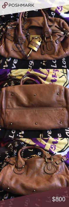 Chloe leather with working lock and key purse Great condition clean inside and out tan leather cloth inside no scratches on the lock or key well cared for amazing bag Chloe Bags Hobos