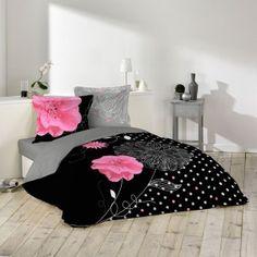 Housse de couette Éclat noir 240x260cm avec taies d'oreillers 100% coton