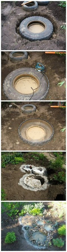 DIY recycled tyres into garden pond display.