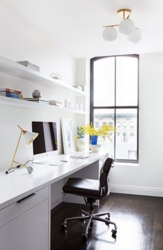 Home Office Storage and Organization Ideas   Hunker Office Organization Tips, Home Office Storage, Home Office Setup, Home Office Space, Home Office Design, Office Ideas, Decoracion Low Cost, Small Home Theaters, Small Sheds