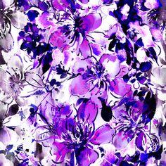 Purple Tonal Ikat Grunge Topical Watercolour Floral