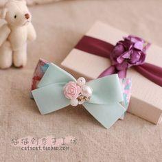 出口礼物手工粉蓝花朵蝴蝶结发饰头饰边夹发夹顶夹发圈发箍M1025-淘宝网