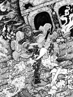 """Shattered was first a commissioned piece. When I was asked if I could draw Ganondorf, I wasn't sure if they meant to say Gandalf. Then I asked them if he was a wizard dwarf. (I had no clue who Ganondorf was).  They sent me a picture and I found out it was an antagonist from many of the Zelda games. I had a lot of fun with this one. Hope you enjoy!    Title: Shattering  Size: Original size 9x12""""  (VARIOUS SIZES AVAILABLE)  -Drawn with Sakura Micron Pens of various sizes (from size 1 down to…"""
