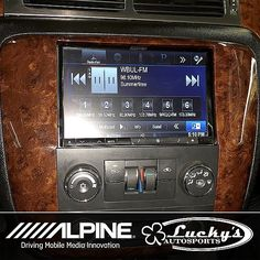 """Custom fit dash kits by Alpine with an 8"""" Alpine Double Din in the dash of a 2010 GMC Yukon..Loaded up with all the bells and whistles... #Luckysoffroad #restyling #truckporn #gmc -  #caraudio #liftedtrucks #offroad #truckaccessories #windowtinting"""