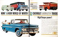 1962 Chevrolet Job Master Trucks original vintage advertisement. Features the Fleetside Pickup, Corvair 95 Corvan, Medium Duty Diesel Tractor, and the Tandem Dump Truck.