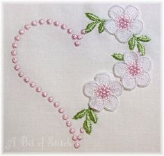 Home of fashionably fun and unusually crafty embroidery designs and projects Embroidery Hearts, Hand Embroidery Videos, Hand Embroidery Flowers, Hand Embroidery Tutorial, Baby Embroidery, Flower Embroidery Designs, Hand Work Embroidery, Creative Embroidery, Simple Embroidery