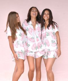 """Possibly the best bridesmaid gift idea! Popular Maggie Pajama Set in Hydrangea Pink $49 ~ super soft and feminine, making it perfect to wear in """"getting ready"""" wedding photos! Shop it via the Piyama Bridal Etsy Boutique.  @piyamasleepwear"""