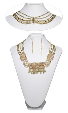 Jewelry Design - Bib-Style Necklace and Earring Set with Seed Beads, Gold-Plated Brass Beads and Czech Glass Beads - Fire Mountain Gems and Beads