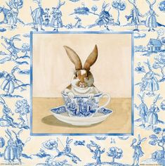 Bunny Tea Cup Toile Print..decorate for Easter