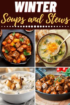 There's nothing better than winter soups and stews to warm you up on a cold day. From beef stew to baked potato soup, these recipes will become your new winter favorites. Fall Soup Recipes, Meat Recipes, Cooking Recipes, Winter Recipes, Best Winter Soups, Winter Food, Lamb Stew, Baked Potato Soup, One Pot Meals