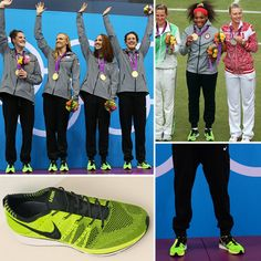 Neon Green Nike 2012 Olympics FlyKnit Trainer Shoes - I have been obsessed with the flyknits since they released two years ago. Glad everyone finally saw what I did Nike Shoes Cheap, Nike Free Shoes, Cheap Nike, Nike Outfits, Flyknit Trainer, Nike Neon, Nike Flyknit, Team Usa, Girls Show