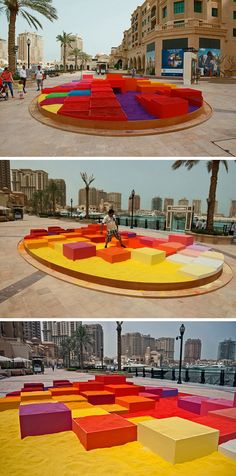 Polish artist Adam Kalinowski, has created an interactive art piece named 'The Dream City'. Made from 30 tons of colored sand and plywood, it was installed in Doha, Qatar.