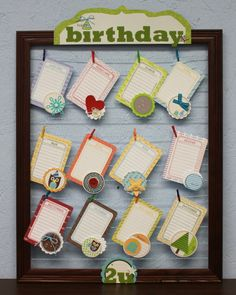 These are so easy to make, just use an old but sturdy frame, paint any color you want, add small nails on side frame and add wire across.  a good idea for keeping track of everyone's birthdays!