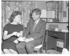 """camelotdaydreams:  """" President John F. Kennedy and First Lady Jacqueline Kennedy at the Hotel Fontenelle during a campaign stop in Omaha in 1958.  """""""