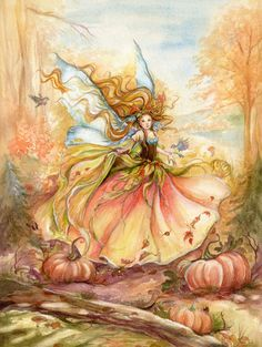 """dance of Autumn"" Watercolor - Fairy Art byJanna Prosvirina"