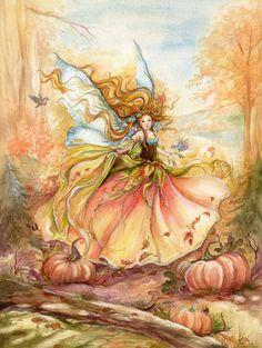 """""""dance of Autumn"""" Watercolor - Fairy Art byJanna Prosvirina"""