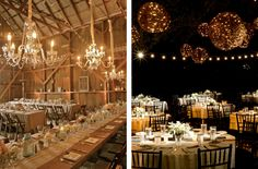 The string ball chandeliers on the right are like fireflies captured in a floating net