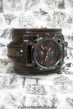 Leather Cuff Watch Wrist Watch Men's watch by CuckooNestArtStudio, $109.00