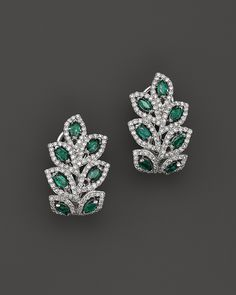 Emerald and Diamond Leaf Post Earrings in 14K White Gold