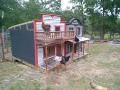 Saloon almost finished. Just needs the doors and the sign. (love these Old West chicken coops)