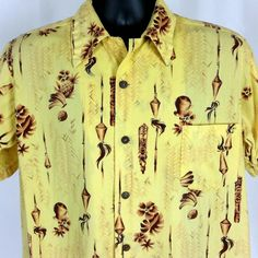 823d2e97 Made in Hawaii Vintage Aloha Hawaiian Shirt Mens XL Yellow Tiki Lamps  Floral #MadeinHawaii #
