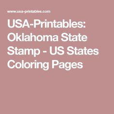 USA-Printables: Oklahoma State Stamp  - US States Coloring Pages