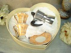 Gold Design Espresso Cups and Pot Set
