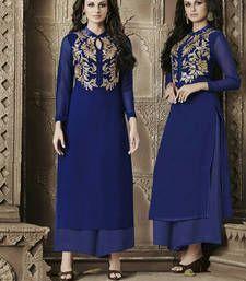 Buy Blue Embroidered Georgette Long Kurta kurtas-and-kurti online