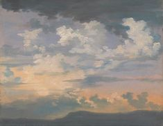 Sky at Sunrise - Unknown French Artist (national gallery) - oil on paper French Artists, Landscape Paintings, Landscapes, Aesthetic Pictures, Dusk, Sunrise, Clouds, Watercolor, Display