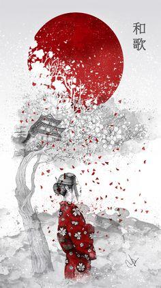 """Japanese Poem"" Available as print: http://society6.com/product/japanese-poem_print#1=45 Metal print : http://displate.com/marineloup/turning-japanese"