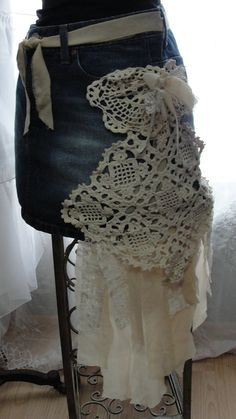 Gypsy boho jean skirt vintage laces bohemian by SummersBreeze, $29.99 @avery sommers (this looks like something you would LOVE! :)  )