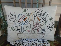 Decorative Winter Christmas Pillow Hand by valleyprimitives