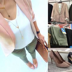 Feeling this combo of blush pink with olive for spring The blazer I spotted is hm walmart jeggings tjmaxx pumps Photo at left via Pink Shoes Outfit, Pink Blazer Outfits, Casual Work Outfits, Business Casual Outfits, Professional Outfits, Cute Outfits, Blush Pink Outfit, Fall Fashion Trends, Autumn Fashion