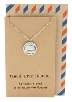 Elise Gifts for Teachers - Teach, Love, Inspire Necklace and Greeting Card, Silver - Quan Jewelry - 2