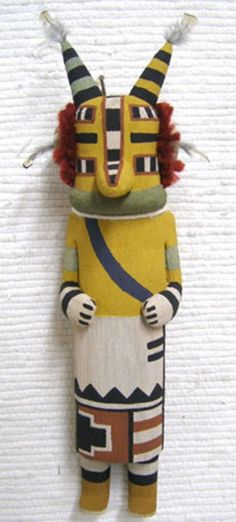 """Hopi Carved 11"""" Old Style Cicada Locust Kachina Doll Sculpture by Raynard Lalo"""