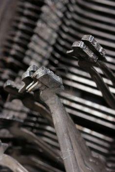 old vintage typewriter key close up