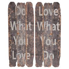 Hang this planked wood wall decor in your master suite or powder room for a touch of inspiration, showcasing a bold typographic motif and distressed finish. ...