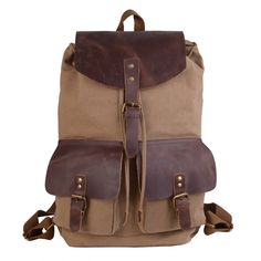 JackandChris®Canvas Genuine Leather Leather Backpack,MC6819 * See this great image  : Travel Backpack