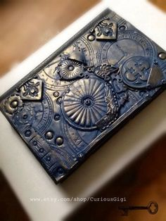Hardcover Sketch Book with original steampunk polymer clay art work, blank art book - pinned by pin4etsy.com