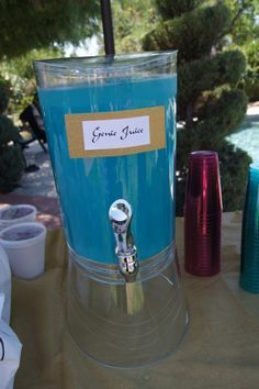 Genie Juice - Lemonade with blue food coloring.