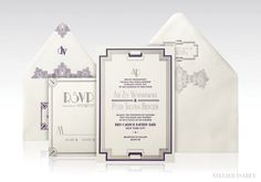 Art Deco Wedding Invitation with 1920s New York inspired detailing and borders. Perfect for a Great Gatsby theme wedding!