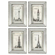 "Add an artful touch to your living room or entryway with this cosmopolitan wall decor, showcasing a mirrored border and vintage-chic motif.  Product: Set of 4 wall decorConstruction Material: Iron and mirrored glassColor: Black and whiteFeatures: Mirrored panelsDimensions: 16"" H x 24"" W x 1"" D"