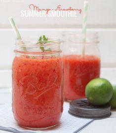 """Mango-Erdbeer-Smoothie (mit ein bisschen """"Grün"""")"""