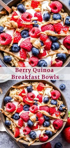 Berry Quinoa Breakfast Bowls are filling, full of protein and a great alternative to oatmeal! You'll love the sweet berry and Greek yogurt topping! Delicious Breakfast Recipes, Brunch Recipes, Sweet Recipes, Real Food Recipes, Healthy Recipes, Brunch Ideas, Healthy Options, Recipes Dinner, Healthy Cooking