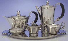 6-Piece Tea Set (waste  Tray) in the Pyramid (sterling, 1927, Hollowware) pattern by Georg Jensen-Denmark